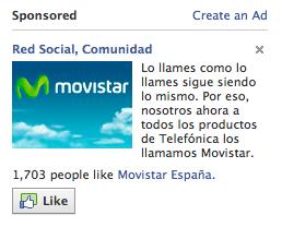 Anuncio de Movistar en FB